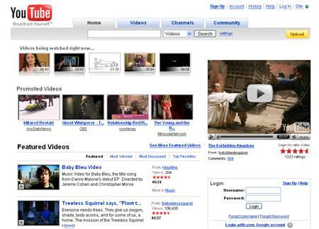 A screenshot of YouTube.com, taken on March 12, 2008. YouTube, Google Inc's popular video sharing site, is giving away tools that let Web developers tap the underlying database functions of YouTube, in effect allowing users to build their own YouTubes. REUTERS/www.youtube.com