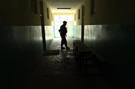 A U.S. soldier keeps watch during medical assistance in Kabul February 26, 2008. REUTERS/Ahmad Masood