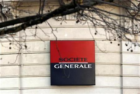 The logo for France's bank Societe Generale is seen in Paris February 13, 2008. REUTERS/Charles Platiau