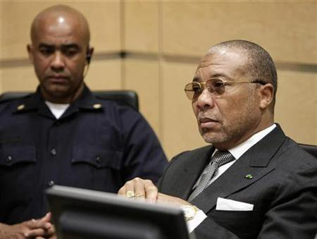 Former Liberian President Charles Taylor sits in the courtroom of the International Criminal Court prior to the hearing of witnesses in his trial in The Hague January 7, 2008. REUTERS/Michael Kooren