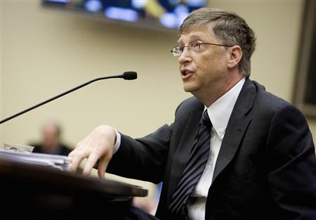 Chairman of Microsoft Corporation, Bill Gates, testifies on competitiveness in the global marketplace as it relates to technology to the House Science and Technology Committee on Capitol Hill in Washington, March 12, 2008. REUTERS/Joshua Roberts