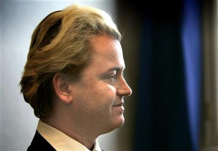 Dutch right wing politician Geert Wilders speaks during an interview with Reuters Television inside the Dutch Parliament in The Hague, March 3, 2005. REUTERS/Jerry Lampen