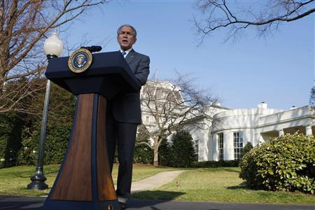 President George W. Bush makes remarks on the Foreign Intelligence Surveillance Act at the White House in Washington, March 13, 2008. The U.S. Senate passed a budget plan on Friday to eliminate the federal deficit by 2012 while spending more than Bush wants on domestic programs like schools and roads. REUTERS/Jim Young