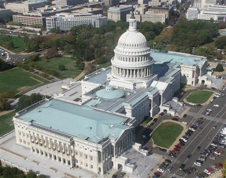 An aerial view of the Capitol building in a file photo. The House abruptly postponed a vote on a spy bill on Thursday after Democrats agreed to a Republican request to hold a rare secret session to discuss classified security matters. REUTERS/Larry Downing