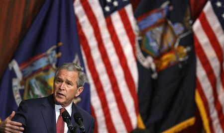 President George W. Bush addresses the Economic Club of New York March 14, 2008. Bush plans to meet on Monday with top U.S. financial policymakers, the White House said, with the meeting coming at a time of increased strains in credit markets. REUTERS/Lucas Jackson