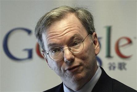 Google Chief Executive Eric Schmidt attends a news conference in Beijing March 17, 2008. Google Inc, the world's leading search engine, said on Monday it was concerned about the free flow of information on the Internet if Microsoft Corp were to succeed in acquiring Yahoo Inc. REUTERS/Grace Liang