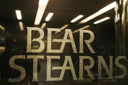 A Bear Stearns sign is seen at its headquarters in New York March 14, 2008. REUTERS/Lucas Jackson