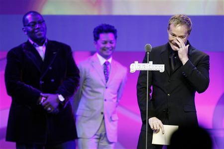 Brian Graden, president of programming at MTV, VH1, CMT, and Logo, accepts an award during the 19th annual GLAAD Media awards in New York March 17, 2008. REUTERS/Lucas Jackson