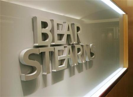 A Bear Stearns sign is pictured at its office in Hong Kong's Central district March 17, 2008. REUTERS/Victor Fraile