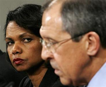 Secretary of State Condoleezza Rice listens to remarks by Russia's Foreign Minister Sergei Lavrov during a press availability after their meeting in Moscow, March 18, 2008. REUTERS/Kevin Lamarque