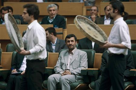 Iran's President Mahmoud Ahmadinejad attends a ceremony to mark the Iranian New Year holiday, called Norouz, in Tehran March 17, 2008. REUTERS/Ahmed Jadallah