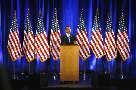 Democratic presidential candidate Senator Barack Obama speaks during a campaign event at the National Constitution Center in Philadelphia, Pennsylvania March 18, 2008. REUTERS/Tim Shaffer