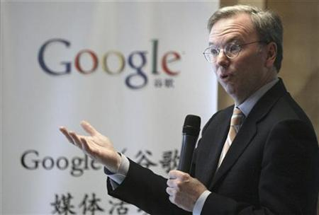 Google Chief Executive Eric Schmidt speaks during a news conference in Beijing March 17, 2008. REUTERS/Grace Liang