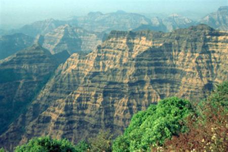 A photo of 500-meter-high stack of Deccan lava flows in the Mahabaleshwar area of India. REUTERS/Science/Handout