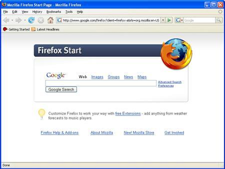 An undated handout image of Mozilla's current Firefox browser. A new version of Mozilla's popular Firefox Web browser is ready for download with improved security and memory use as the tiny company takes a stab at Microsoft Corp's dominant Internet Explorer. REUTERS/Mozilla/Handout