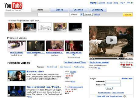 A screenshot of YouTube.com, taken on March 12, 2008. REUTERS/www.youtube.com