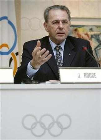 International Olympic Committee (IOC) President Jacques Rogge gestures during a news conference at the IOC headquarter in Lausanne December 12, 2007. REUTERS/Denis Balibouse