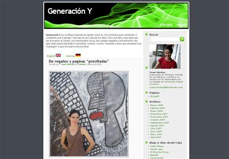 A screenshot of the ''Generacion Y'' blog, taken on March 24, 2008. REUTERS/www.desdecuba.com/generaciony