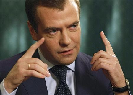 Russia's president-elect Dmitry Medvedev speaks during an interview with the Financial Times in the Kremlin in Moscow March 25, 2008. REUTERS/RIA Novosti/Dmitry Astakhov