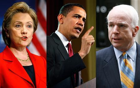 A combination image showing presidential candidates (L-R) Hillary Clinton, Barack Obama and John McCain. REUTERS/Tim Shaffer (L)/John Summers II (C)/Luke MacGregor (R)