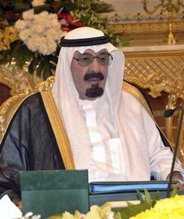 Saudi Arabia's King Abdullah attends a cabinet meeting in Riyadh March 24, 2008. King Abdullah plans to launch an effort at dialogue between Islam, Christianity and Judaism to help end inter-religious tension, Saudi media said on Tuesday. REUTERS/Saudi Press Agency/Handout