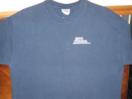 A Bear Stearns T-shirt which sold on eBay is seen in an undated handout photo. REUTERS/Jennifer Cseplo/Handout