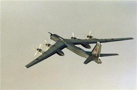 A Russian Tupolev Tu-95 plane is seen in a file photo. REUTERS/331/332-SQUADRON/Scanpix