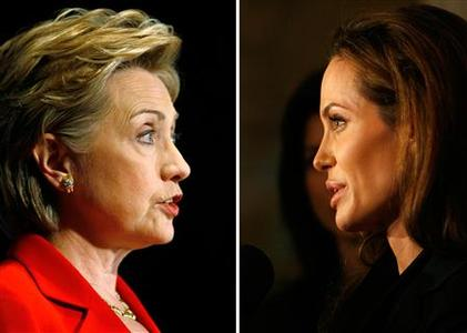 A combination image showing Democratic presidential candidate Hillary Clinton (L) and Angelina Jolie. The presidential candidates may have star qualities -- and they also have stars in their families, according to a genealogical study linking Clinton to Jolie and Barack Obama to Brad Pitt. REUTERS/Tim Shaffer (L)/Mario Anzuoni (R)
