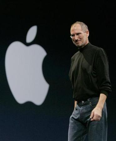 In this file photo Apple CEO Steve Jobs smiles during the Macworld Convention and Expo in San Francisco, California January 15, 2008. Chip-maker Wolfson Microelectronics said on Thursday it had been snubbed as a supplier to portable media players by a major customer, which a person familiar with the company said was Apple. REUTERS/Robert Galbraith