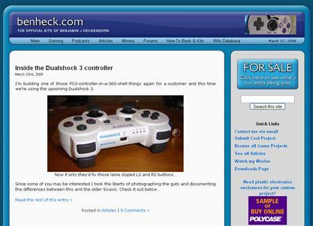 A screenshot of BenHeck.com, taken on March 27, 2008. REUTERS/benheck.com