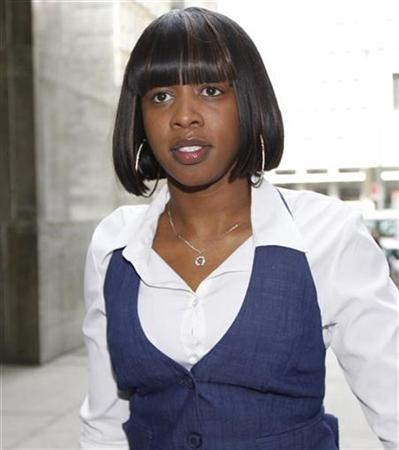Rap artist Remy Smith, better known by her stage name Remy Ma, arrives at state court regarding shooting charges, in New York, March 18, 2008. REUTERS/Chip East