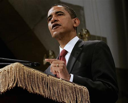 U.S. Democratic presidential candidate Senator Barack Obama (D-IL) delivers a speech on the economy at Cooper Union for the Advancement of Science and Art in New York, March 27, 2008. REUTERS/Shannon Stapleton