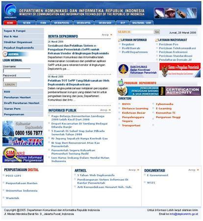 A screen grab of www.depkominfo.go.id. REUTERS/www.depkominfo.go.id