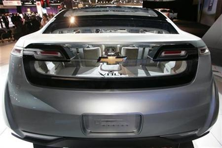 The rear of the Chevrolet Volt plug-in hybrid concept vehicle is seen during the Los Angeles Auto Show in Los Angeles, California November 14, 2007. REUTERS/Danny Moloshok