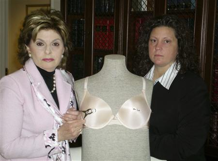 Attorney Gloria Allred (L) and her client Mandi Hamlin pose with a mannequin and nipple rings in her Los Angeles office after a news conference March 27, 2008 in this photograph provided by Allred. REUTERS/Ashley Morrison-Courtesy Gloria Allred/Handout