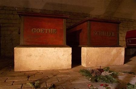 Flowers lay in front of the coffin of Johann Wolfgang von Goethe and Friedrich Schiller in Weimar's Princess Crypt March 18. Scientists in former communist east Germany exhumed the corpse of revered German poet Johann Wolfgang von Goethe in a secret operation in 1970 to preserve his skeleton for all time, according to a file published by the Frankfurter Allgemeine Newspaper Thursday. The find comes in the 250th anniversary year of Goethe's birth and as Weimar, where he spent much of his working life, holds celebrations as Europes current City of Culture. REUTERS/Jochen Eckel