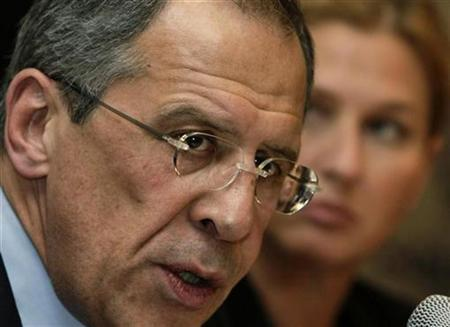 Russia's Foreign Minister Sergei Lavrov addresses journalists during a joint news conference with his Israeli counterpart Tzipi Livni following their meeting in Tel Aviv March 20, 2008. REUTERS/Yiorgos Karahalis