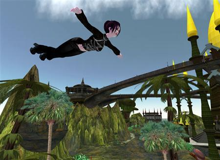 An avatar flies through the world of Second Life in a handout photo. REUTERS/Linden Labs/Handout