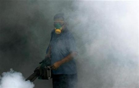 A worker sprays pesticide in the public area of a condo in Singapore in a file photo. REUTERS/Joachim Hermann