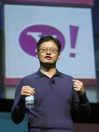 Jerry Yang, Yahoo CEO and co-founder, speaks at a keynote address at the Consumer Electronics Show (CES) in Las Vegas, Nevada January 7, 2008. REUTERS/Rick Wilking
