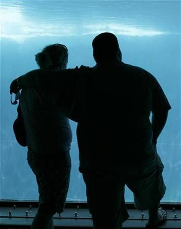 A couple view a tank at Sea World during a visit to San Diego, California August 24, 2007. REUTERS/Mike Blake