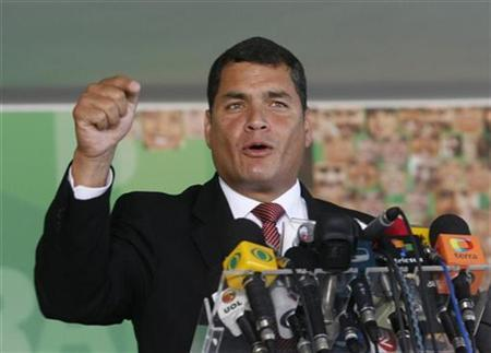 Ecuador's President Rafael Correa makes a statement to the media after his meeting with Brazil's President Luiz Inacio Lula da Silva at Planalto Palace in Brasilia March 5, 2008. REUTERS/Jamil Bittar REUTERS/Jamil Bittar