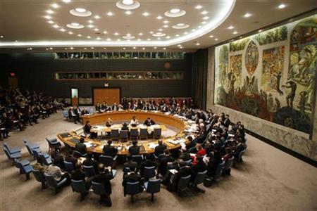 The U.N. Security Council meets to discuss Kosovo's declaration of independence at United Nations headquarters in New York, February 18, 2008. REUTERS/Keith Bedford