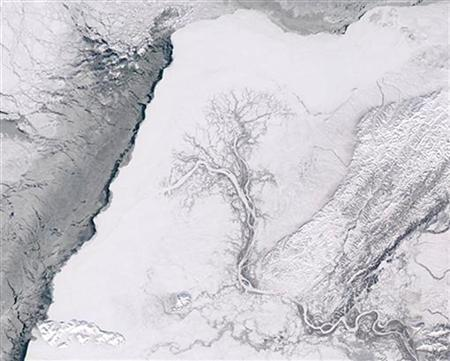 The Yukon Delta (C) and Bering Sea (L) is shown in this handout photo from NASA's Aqua satellite taken March 8, 2004. REUTERS/MODIS Rapid Responce Team/NASA-GSFC RCS
