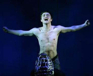 Daniel Radcliffe during a performance of ''Equus'' in London's West End, February 22, 2007. Radcliffe will make his Broadway debut in September in a reprise of the role, a performance where he shed not only the mantle of Harry Potter but also his clothes. REUTERS/Dylan Martinez