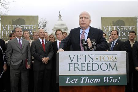 US Republican presidential candidate Sen. John McCain (R-AZ) addresses a Vets for Freedom rally on Capitol Hill in Washington April 8, 2008. REUTERS/Jonathan Ernst