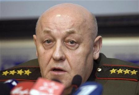 Russian General Yuri Baluyevsky speaks during a news conference in Moscow in a December 2007 photo. Russia will take military and other steps along its borders if ex-Soviet Ukraine and Georgia join NATO, Russian news agencies quoted the armed forces' chief of staff as saying on Friday. REUTERS/Thomas Peter