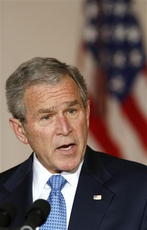U.S. President George W. Bush speaks about the war in Iraq from the White House in Washington April 10, 2008. After a contentious debate in Congress on Iraq, Bush on Thursday defended his war policy, which will leave resolution of the costly and unpopular conflict to his successor. REUTERS/Kevin Lamarque