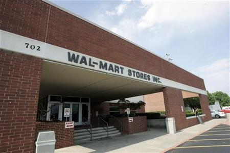 A sign marks the entrance to Wal-Mart's headquarters in Bentonville, Arkansas June 1, 2007. REUTERS/Jessica Rinaldi