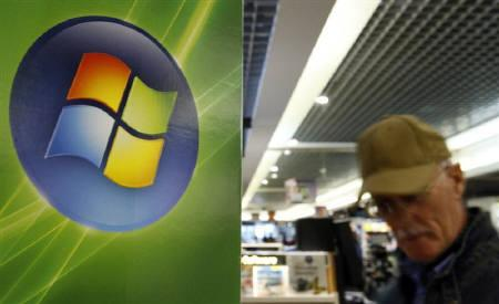 A man is seen walking by the logo of Microsoft in a shop in Brussels in this September 17, 2007 file photo. Software maker Red Hat Inc may abandon plans to introduce software that would compete directly with Microsoft Corp's Windows software for personal computers, a company executive said on Tuesday. REUTERS/Sebastien Pirlet/Files